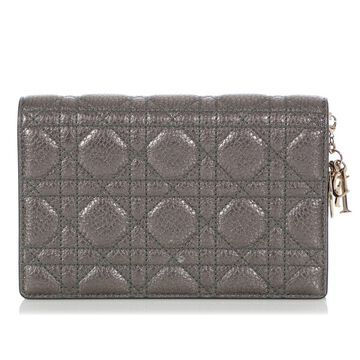 Dior Lady Dior Silver Leather Clutch Bag
