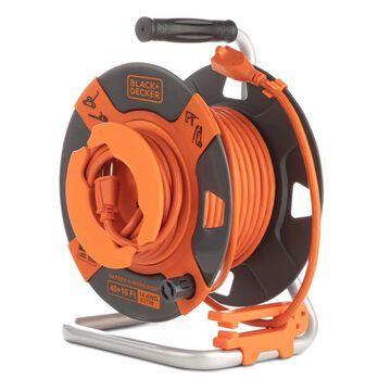 BLACK+DECKER Black + Decker Cord Reel 50-ft 14/3 3-Prong Indoor/Outdoor SJTW Medium Duty General Extension Cord in Orange | BDXPA0064