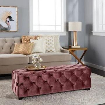 Piper Modern Glam Tufted Velvet Ottoman Bench by Christopher Knight Home (Pink)