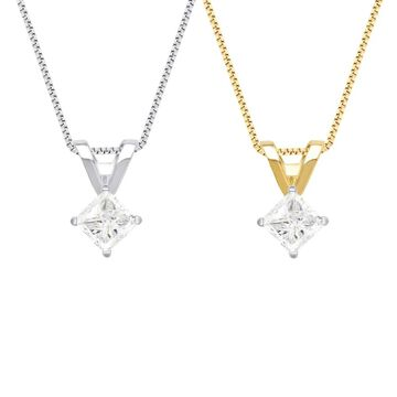 Divina 14KT White and Yellow Gold 1/4ct TDW Diamond Solitaire Pendant