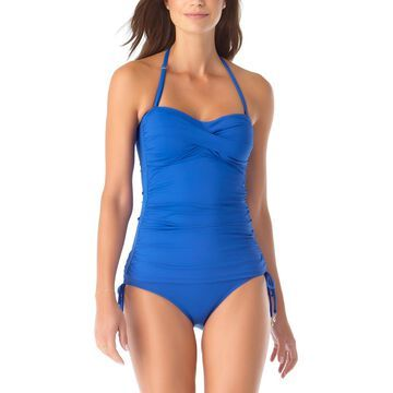Anne Cole Women's Tankini Tops BLBE - Blue Twist-Front Shirred Bandeau Tankini Top - Women