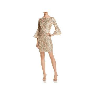 Aidan Mattox Womens Cocktail Dress Bell Sleeves Sequined