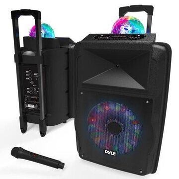 Pyle PSUFM1280B - Portable PA Speaker System Bundle Kit with Built-in LED Lights, , Streaming, Handheld Micro, MP3/USB/Micro SD/FM Radio (12 -inch, 700 Watt)