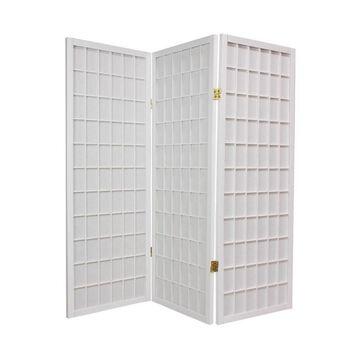 Oriental Furniture 3-Panel White Paper Folding Shoji Style Room Divider | WP48-WHT-3P