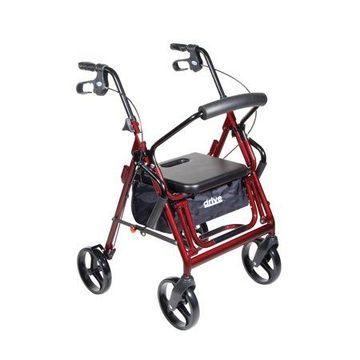 Drive Medical Duet Dual Function Transport Wheelchair Rollator Rolling Walker, Burgundy