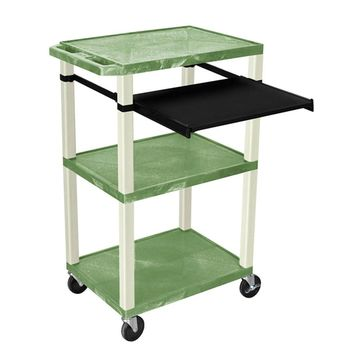 Offex Green/Putty Presentation Cart with Open Shelves and Pull-out Tray