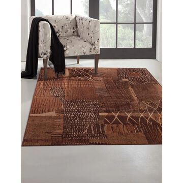 Mohave Rust/ Brown/ Gold Viscose Area Rug by Greyson Living (5'3