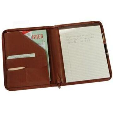 Royce Leather Zip Around Writing Genuine Leather Padfolio (Tan)