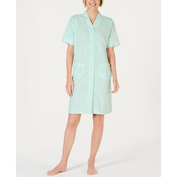 Printed Short-Sleeve Stretch Terry Gripper Robe