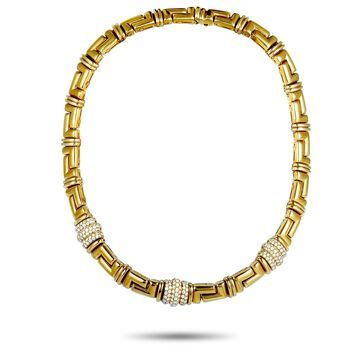 Bvlgari Yellow Gold Diamond Collar Necklace