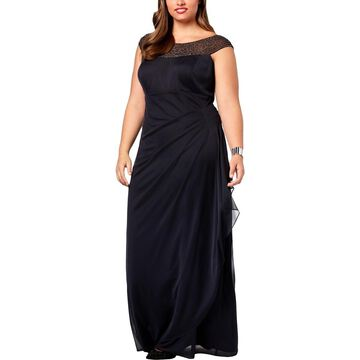 Xscape Womens Plus Embellished Ruched Evening Dress