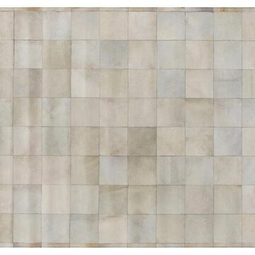 Stitched Blocks Hide - Ivory - Exquisite Rugs - 5'x8' - Gray