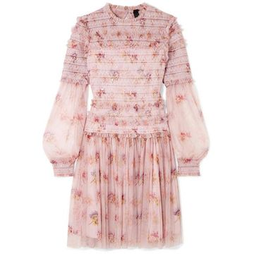Needle & Thread - Think Of Me Sequined Shirred Floral-print Tulle Mini Dress - Pastel pink