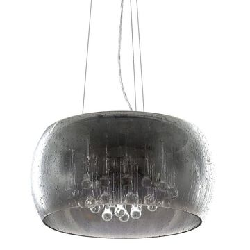 Decor Therapy Varsha Chrome/Glass Modern/Contemporary Clear Glass Drum LED Medium (10-22-in) Pendant Light | CH1981