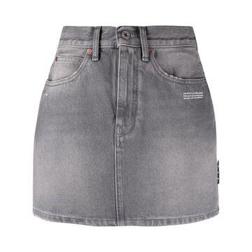 OFF-WHITE logo-print denim skirt