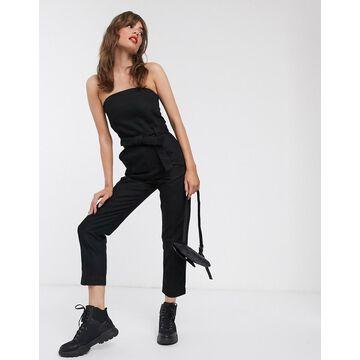 Weekday bandeau denim jumpsuit in black