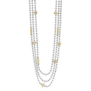 Icon Caviar Beaded 18K Ball Chain Necklace, 22