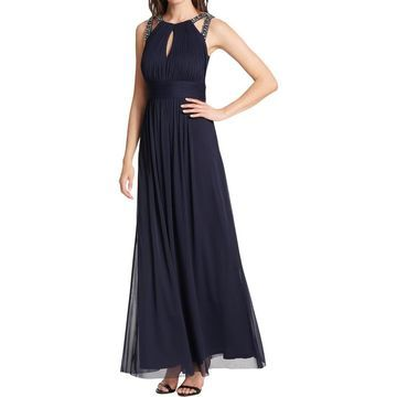 Jessica Howard Womens Rouched Jeweled Evening Dress