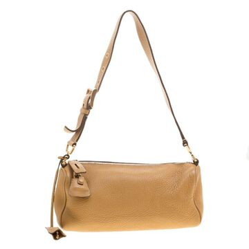 Prada Camel Leather Shoulder Bag