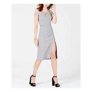 XOXO Womens Black Cut Out Plaid Short Sleeve Off Shoulder Below The Knee Sheath Wear To Work Dress Juniors Size: XXL