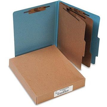 ACCO Pressboard 25-Point 6-Section Letter-Size Classification Folders, Box of 10, Available in Multiple Colors