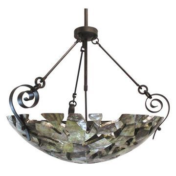 Kalco Sienna Bronze 6 Light Large Shell Chandelier/Pendant With Cutouts