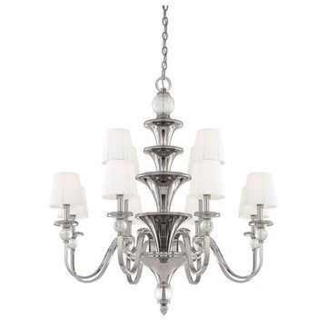 Minka Metropolitan Aise 12-Light Chandelier, Polished Nickel