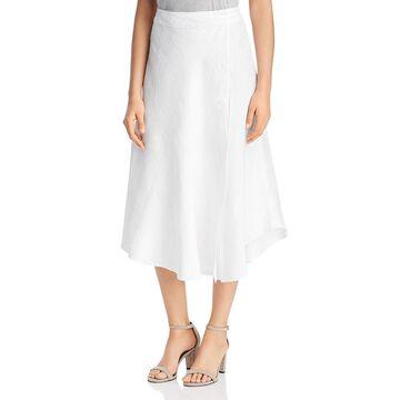 Three Dots Womens Linen Asymmetric Wrap Skirt