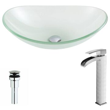 ANZZI Forza Series Lustrous Frosted Deco-Glass Vessel Sink with Key Brushed Nickel Faucet