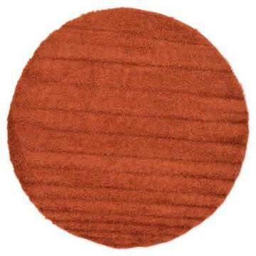 Unique Loom 8'2 Round Solid Shag Area Rug in Terracotta