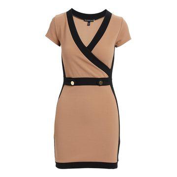 Derek Heart Women's Casual Dresses KHAKI - Black & Khaki Almondine Cap-Sleeve Surplice Dress - Juniors