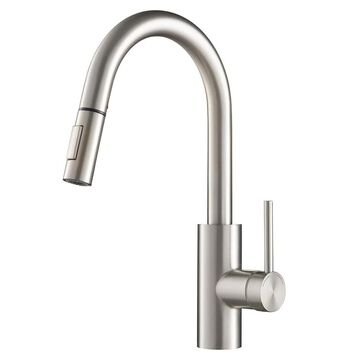 Kraus Oletto Spot Free Stainless Steel 1-Handle Deck-Mount Pull-Down Handle Kitchen Faucet | KPF-2620SFS