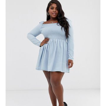 ASOS DESIGN Curve denim shirred mini smock dress in lightwash blue