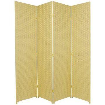Oriental Furniture 6 Ft Tall Woven Fiber Room Divider, dark beige, 4 panel