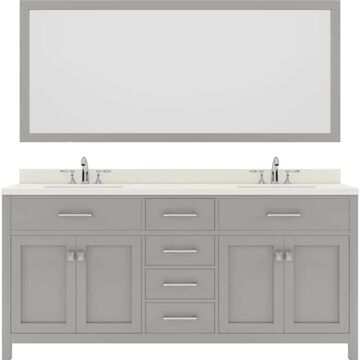 Virtu USA Caroline 72-in Double Bath Vanity in Cashmere Grey with Dazzle White Top and Square Sink with Brushed Nickel Faucet and Mirror in Gray