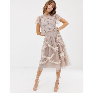Needle & Thread tulle midi skirt with shirring detail in rose
