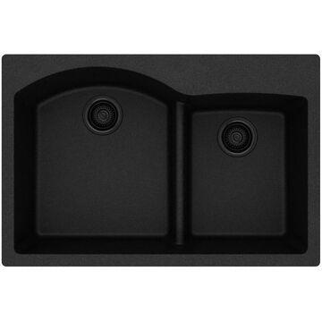 Elkay Quartz Classic Drop-In 33-in x 22-in Black Double Offset Bowl Kitchen Sink