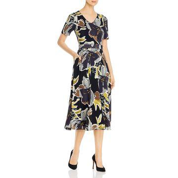 Lafayette 148 New York Womens Roland Cocktail Dress Silk Floral Print - Black Multi