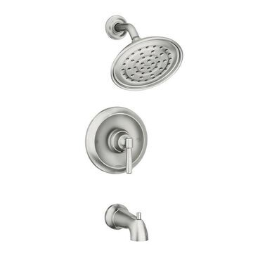 Moen Halle Spot Resist Brushed Nickel 1-Handle Bathtub and Shower Faucet with Valve