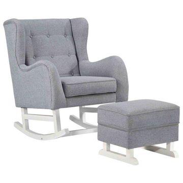 Fine Mod Imports Rubberwood Chair Ottoman Set, Gray Finish