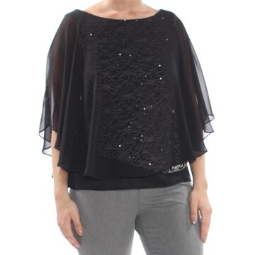 CONNECTED APPAREL Womens Black Embellished Chiffon Top Size: L