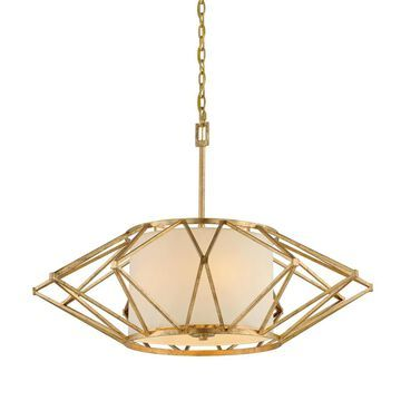Troy Lighting Calliope Rustic Gold Leaf Modern/Contemporary Geometric Large (Larger Than 22-in) Pendant Light | F4865