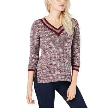 maison Jules Womens Striped Trim Pullover Sweater