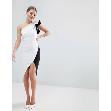 Vesper pencil dress with exaggerated sleeve in color block