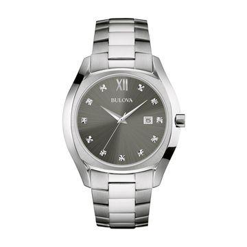 Bulova Men's Silvertone Stainless Steel Dress Watch