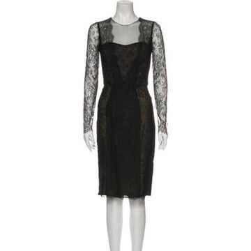 Lace Pattern Knee-Length Dress Black
