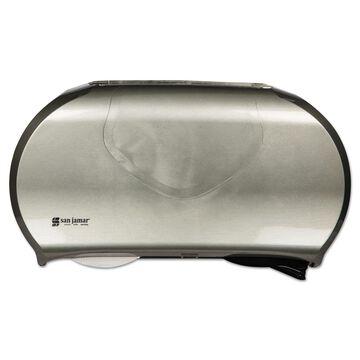 San Jamar Twin Jumbo Bath Tissue Dispenser 19 1/4 x 6 x 12 1/4 Black/Stainless