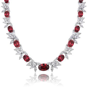 Icz Stonez Sterling Silver 59 3/4ct TGW Red and White Cubic Zirconia Oval Flower Necklace