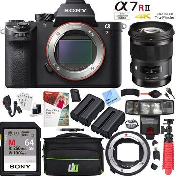 Sony a7R II Mirrorless 42.4MP Camera with Sigma 50mm Lens and Mount Converter Kit