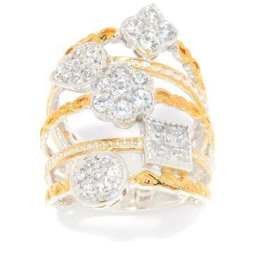 Michael Valitutti Palladium Silver White Zircon 5-Band Round & Princess Cut Ring